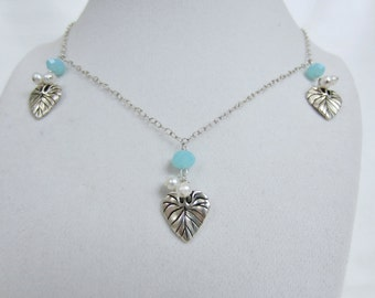 Pewter Leaf and Pearl Necklace