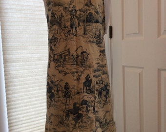 Blue Toile Western Life Print Chef Style Apron