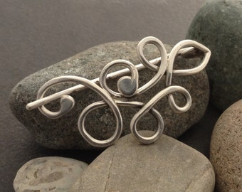 Shawl scarf pin brooch, solid sterling silver, abstract flowing Cetic knotwork, thick pin for loose woven fabric, one of a kind, medium size