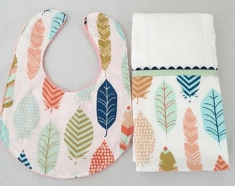 Modern Baby/Toddler Bib and Burp Cloth Set...Coral/Mint/Navy Feathers...Burp Cloth Personalized...Shower Chic