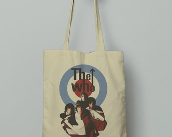 The Who Tote Bag, Market bag, Fabric grocery bag, Shoulder strap, Unique design and gift