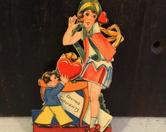 1920s Flapper Valentines Day Card, Mechanical Die Cut Card, Vintage Valentine Card, Made Germany