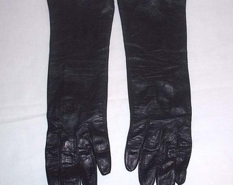 Near Mint Vintage Roger Fare France for Saks Fifth Avenue Black Kid Gloves Size 6 -3/4 French Kidskin