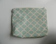SALE - Mint green and cream arabesque pattern zipper pouch, make-up bag, pencil pouch, bridesmaid clutch