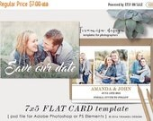 SALE Save The Date Template , Photography 7x5in Template for Adobe Photoshop, sku 77-2