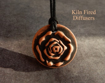 3D Black Aromatherapy Essential Oil Diffuser Rose Necklace Pendant Painted Terracotta Terra Cotta Textured Botanical Nature Jewelry Doterra