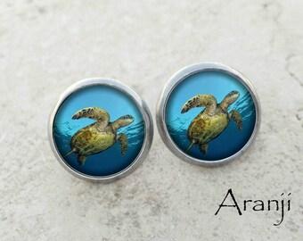 Glass dome turtle earrings, sea turtle earrings, turtle jewelry, turtle stud earrings AN128E