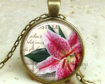 Pink Stargazer lily pendant, pink flower pendant, lily pendant, pink flower necklace, stargazer lily pendant, lily jewelry, Pendant #PL121BR