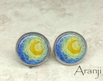 Van Gogh Starry Night earrings, Starry Night earrings, Starry Night moon earrings, Van Gogh earrings, moon earrings, art earrings AR116E