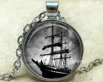 Ship art  pendant, ocean pendant, sailing pendant, ship necklace, ship fine art pendant, Pendant#HG153P