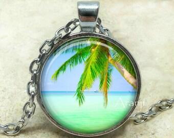 Tropical beach art pendant, ocean necklace, ocean pendant, beach necklace, tropical pendant, island pendant, beach jewelry, Pendant #SP130P