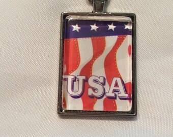 USA Flag Patriotic Gunmetal Necklace
