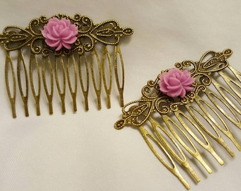 Hair Combs Pink Roses on Antique Gold