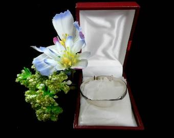Baby bangle, christening bracelet, marked Ster Silver, blank nameplate, Greek key design, children's jewellery