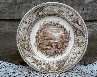 "Antique Aesthetic Movement G W TURNER and Sons Phileau, Brown Transferware Plate, 9 1/4"", 1800's, Tunstall, English Transferware"