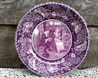"""Antique Purple Transferware Dinner Plate, 10"""", """"Courtship of Miles Standish"""", Olde Historical Pottery, Staffordshire"""