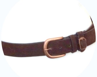 brown belt made of fake suede- shabby chic belt- copper clasp