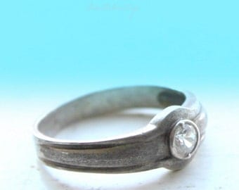 vintage silver ring - size 19mm EU/ 9 USA-sterling silver 925