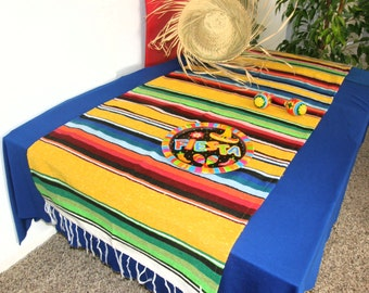 Yellow Serape Table Runner - Made from Mexican serape cloth - Picnic, party, reception, wedding, birthday, picnic