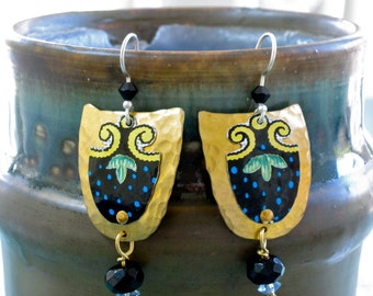 Recycled Metal and Brass Earrings, Dangle Mixed Metal and Crystal Earrings, Black, Blue, Yellow and Green Dangle Earrings