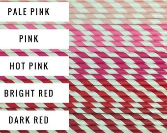 25 Stripe Paper Straws / Cake Pop Sticks - Choose from 25 Colors