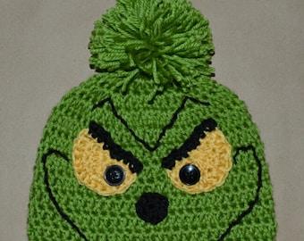 Grinch Christmas Beanie Hat Handmade Crochet Baby Beanie Hat Photo Prop Custom Made Christmas X-Mas