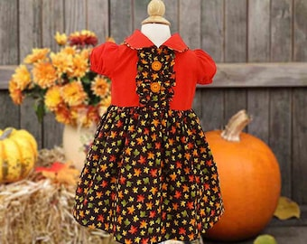 Size 2 Fall Dress, Girl's Autumn Dress, Harvest Dress, Toddler Dress, Party Dress, Size 1, 2, 3, 4, Special Occasion Dress
