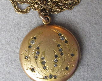 Pretty Antique Victorian Gold Filled LOCKET With Paste Rhinestones, Signed W&H Co.