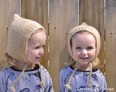 SALE Hand Knit Bonnet Size 18-24 Months-Ready to Ship