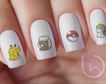Go Pokemon Waterslide Decal, Nail Design, Nails, Press On Nail Decal, Nail Design, Nail Art