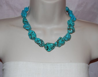 Chunky Turquoise Statement Necklace Bold Turquoise Beaded Necklace Bold