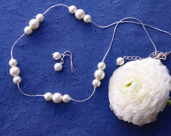 Bridesmaids gifts-Pearl Jewelry sets with Necklace and Earrings (15 COLORS Available)