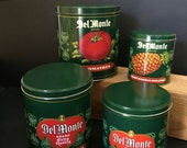 Vintage  DelMonte Tins Nesting 4 total Tomatoes String Beans Peaches Pineapple