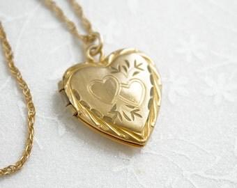 Heart Locket necklace, vintage gold filled locket, vintage heart locket, gold-filled sweetheart locket, monogrammable locket, Valentine's