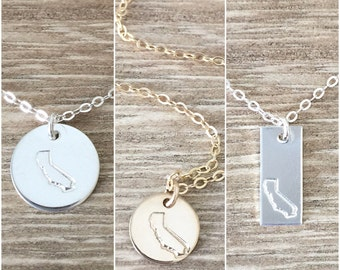 The Cali Collection ~ California Hand Stamped on a mini disc, disc and vertical bar.