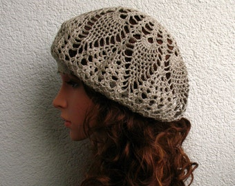 Crochet Summer beret Womens hat Pure Natural Linen beret hat Women Summer boho hat Women linen Slouchy Beret Tam Hat Gray