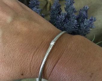 Sterling Textured Bangle Bracelet Medium