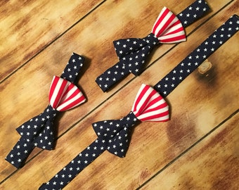 American Flag Adjustable Bow Tie