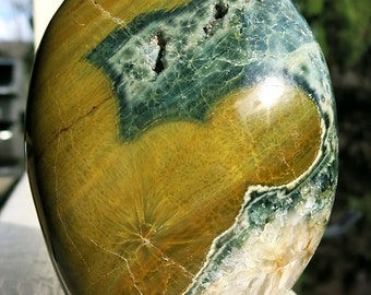 5 inch Ocean Jasper self standing sculpture. 2 pound 6.4 ounce