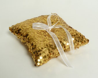 Gold ring pillow // gold sequin ring pillow // gold sequin wedding // gold sequin ring bearer pillow