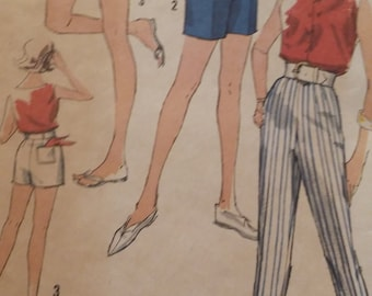 Vintage Simplicity 3835 Sewing Pattern Waist 26 Hip 36 Pants  and Shorts in Two Lengths