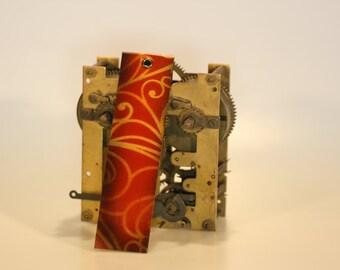 steampunk leather bookmark, golden flower