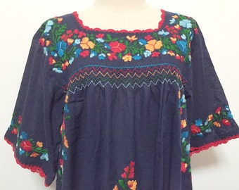 Embroidered Mexican Blouse Cotton Top In Blue, Boho Blouse, Hippie Top Bohemian Style