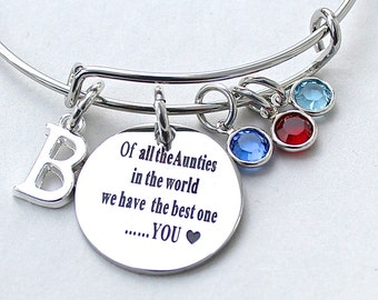 Of All The Aunties In The World We Have The Best OneYOU, Stainless Steel  Scripted Charm, Swarovski Birthstones, Auntie Gift, Aunt  R24