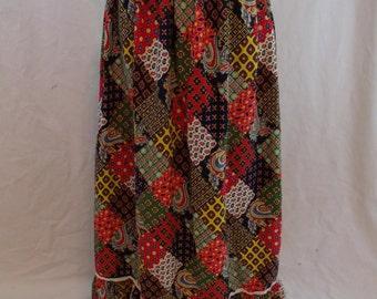 "Vintage 60s Patchwork Print Hippie Maxi Skirt 24"" Waist XS S"
