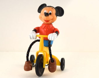 Vintage  Disney Mickey Mouse on Tricycle Push Toy 1977 by Gabriel Industries