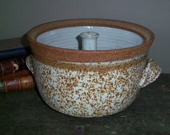 Vintage Handmade Large Stoneware Casserole with Center Cylinder Rustic