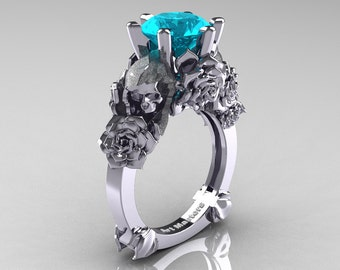 Love and Sorrow 14K White Gold 3.0 Ct Paraiba Tourmaline Skull and Rose Solitaire Engagement Ring R713-14KWGSPTU