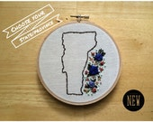 State decor, province decor, country decor, travel gift, custom state, custom province, floral embroidery, choose your own custom embroidery