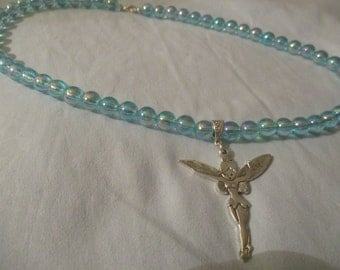 Irridescent aqua colour acrylic necklace with large fairy pendant